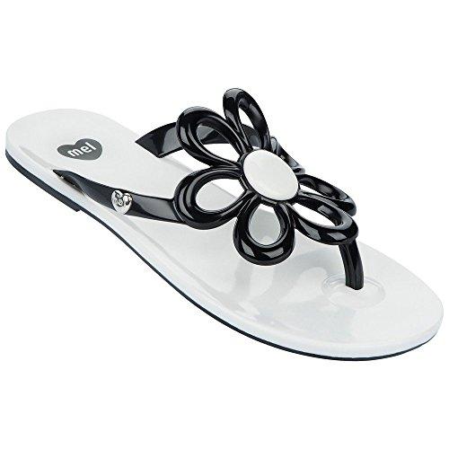 Mel Blume Damen - Flach Flip Flop Sandalen Weiß / Schwarz