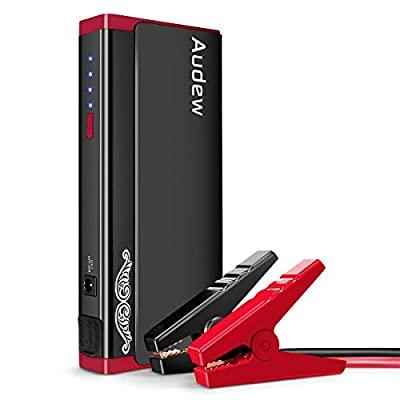 Audew Portable Jump Starter, 13800mAh Car Jumper, 500A Auto Battery Booster, Battery Jumper with Aluminum Alloy Shell & Upgraded Smart Jump Cable (Up to 5L Gas or 3L Diesel Engine)