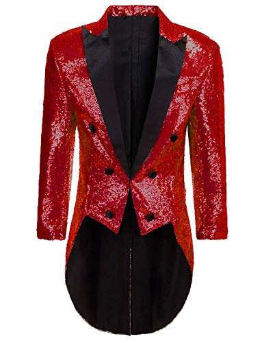 Mens Tailcoat Jacket Costume Halloween Burgundy Glitter Sequins Blazer Jacket for Circus ()