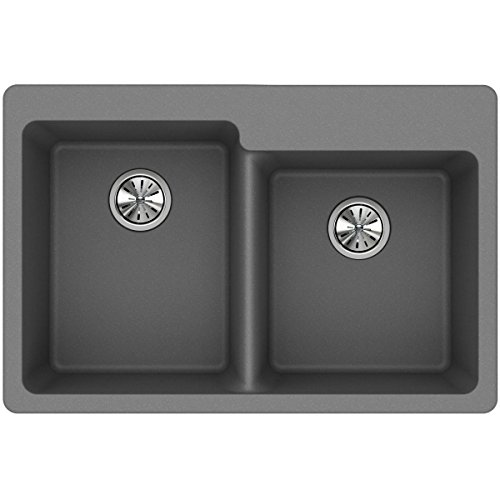 Elkay Quartz Classic ELG250RGS0 Greystone Offset Double Bowl Top Mount Sink ()