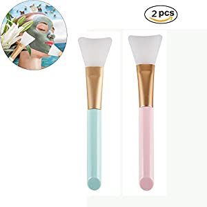 2 pc Silicone Hairless Facial Mask Brush Makeup Applicator Brush Mask Mud Brush Tools Mask Applicator Makeup Cosmetic Brush for Facial Eye Mask DIY Needs ...