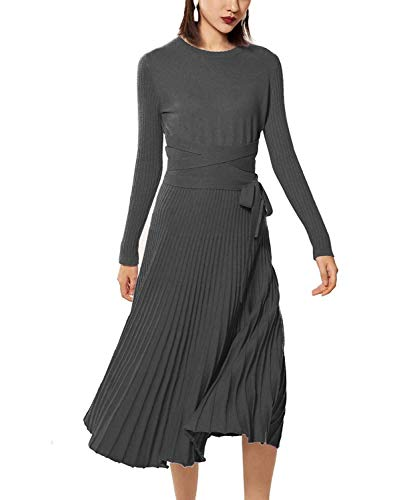 (RanRui Womens Sweater Dresses Cashmere Long Sleeve Belted Pleated Dresses New Year Gift (L,)