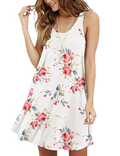 Viishow Women's Sleeveless Floral Print Summer Loose Casual Mini Tank Dresses(Floral White XL) ()