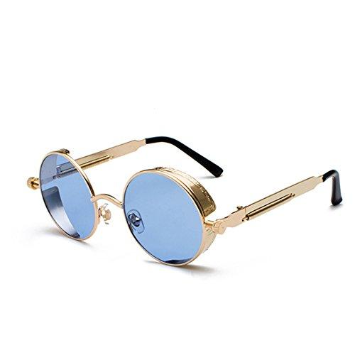 Dorado Gafas de Yefree moda sol círculo Mar de Marco de retro sol color metal Gafas de Lente de Azul de Marco UrwZgPUq