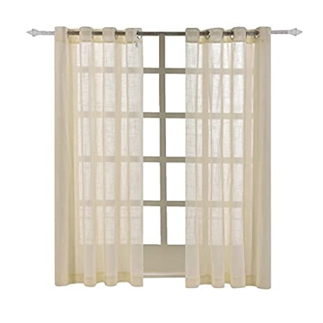 Best Dreamcity Faux Linen Sheer Curtains For Bedroom, Window Treatment  Drapes, Grommet Top,