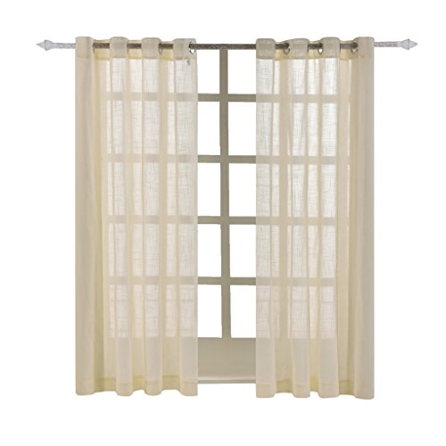 Best Dreamcity Solid Grommet Faux Linen Sheer Curtains / Drapes for Bedroom (Pack of 2 Panels, W52' X L84', Beige)