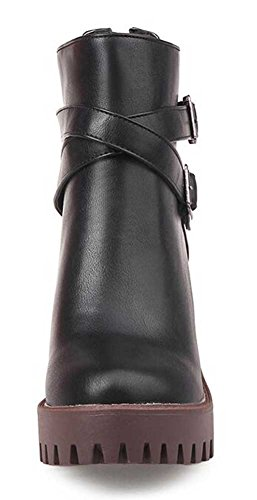 Ankle Black Mid Chunky Boots Heel CHFSO Zipper Buckle Belt Womens Trendy Round Solid Toe wWPF8f1qO