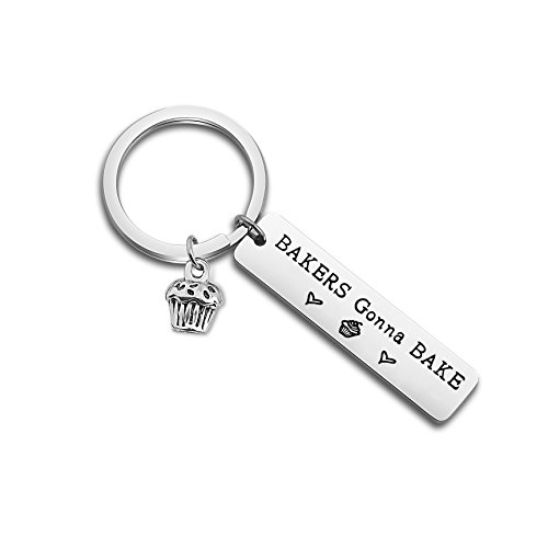 - ENSIANTH Baker Gift Bakers Gonna Bake Keychain Cupcake Charm Jewelry Baking Theme Keychain Pastry Chef Gift (Baker Keychain)