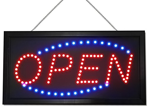 Neon Style LED Open Sign - Red / Blue Lights - Extended Power Cord - 2 Modes - Flashing / Steady Motion - Sturdy Chain - Best Signs for Business (Lighted Business Signs)