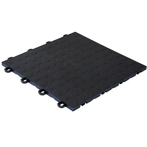 MODUTILE Interlocking Modular Garage Flooring Tile, Coin Top (30 Pack) (Black)