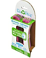 Re-Play Utensils Forks and Spoons Set, Sky Blue/aqua/bright Pink/purple