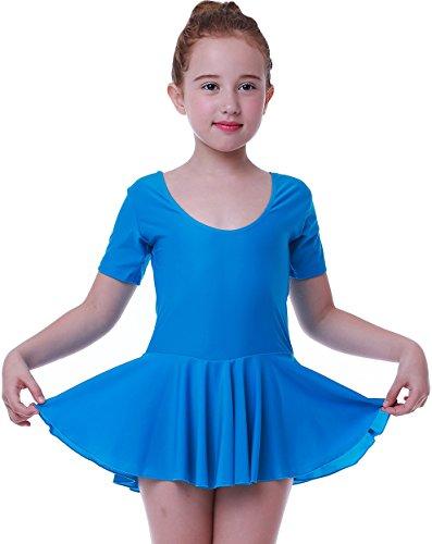 Seawhisper Mädchen Ballett Tutu Tütü Balletkleid Kindertanzkostüme Trikots Tanz Leotards Kleider(Kurze ärmel blau, Höhe 145cm)
