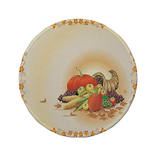 Non-Slip Rubber Round Mouse Pad,Harvest,Maple Tree Frame with Rustic Composition for Thanksgiving Halloween Dinner Food,Multicolor,11.8