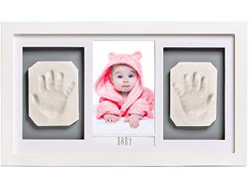 Lovely Baby Handprint or Footprint Picture Frame Kit -The Perfect Shower Gift for Boys and Girls, and A Forever Registry Memory, All in A Premium LARGE Wood Frame for Keepsake Decoration, Wall or Desk (Footprint Frame)