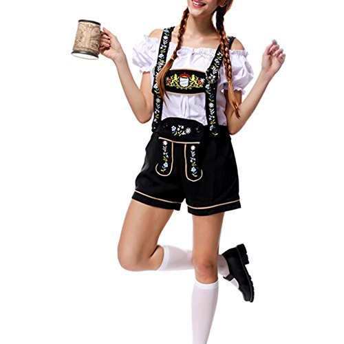 Womens German Beer Maid Woman Oktoberfest Costume Lederhosen Party Gretchen (M) (Bavarian Outfit)