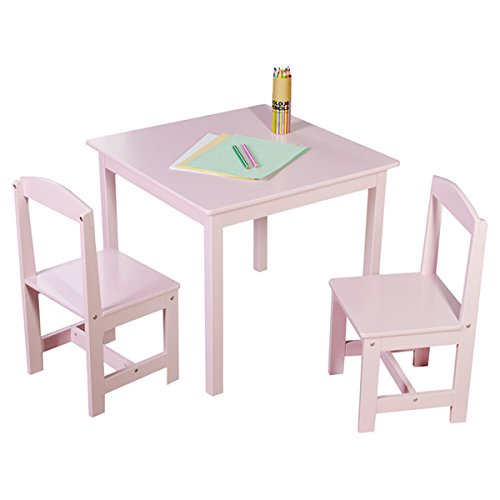 Kids Activity Table and Chairs Set 3-piece Wooden Toddler Room Kit Furniture (Pink) by TMS