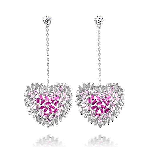 SKA Jewelry Love Heart Earrings Studs for Women Pink Cubic Zirconia Drop Dangle Earrings Ear Studs White Gold Plated