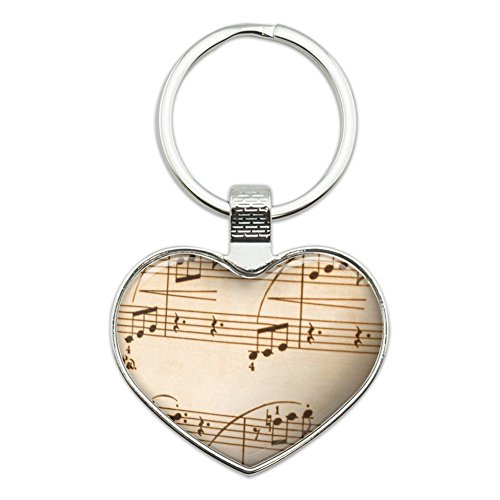 Love Note Music (Vintage Sheet Music Notes Musical Score Musician Heart Love Metal Keychain Key Chain Ring)