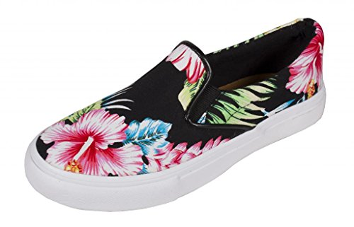 Lustacious Women's Classic Low Top Round Toe Slip On Fashion Sneakers, black tropical flower cotton white sole, 7.5 M US