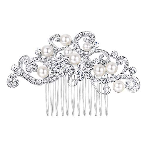 - EVER FAITH Silver-Tone Austrian Crystal Cream Simulated Pearl Floral Vine Bridal Hair Side Comb Clear