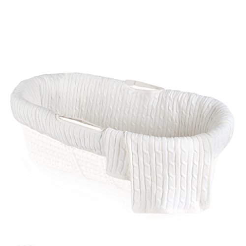 Tadpoles Cable Knit Moses Basket Bedding Only Set, Ivory, One-Size