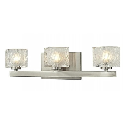 85%OFF Z-Lite 3024-3V Brushed Nickel Frame Finish 3-Light Vanity Light, Clear