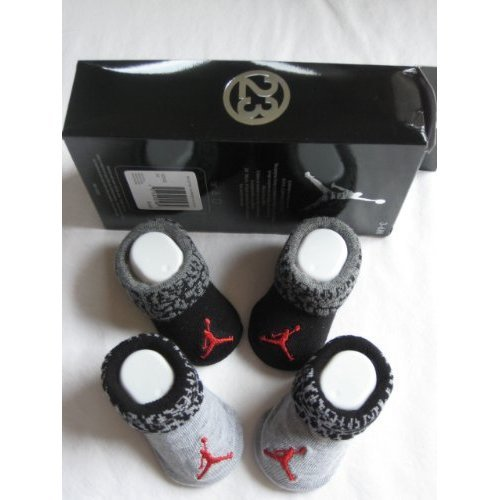 Nike Jordan Booties Girl Boy Baby Infant 3-6 Months with Jumpman23 Sign Black and Grey Sock 2 PCS One Set New