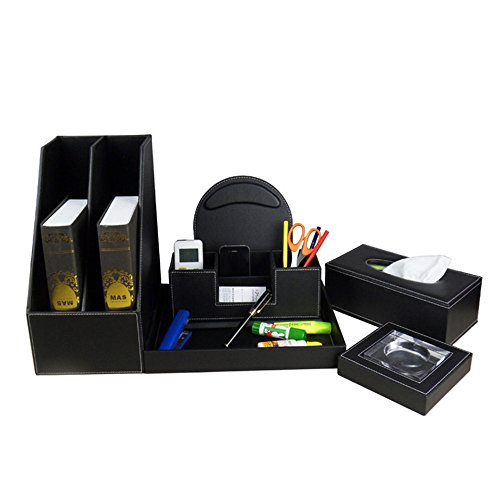 Black PU Leather Business Office Desktop Double Row File Holder Mouse Pad Double Barrels Tray Tissue Box Ashtray Set
