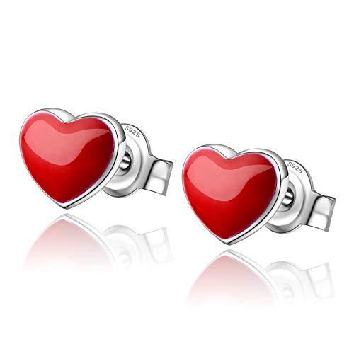 Red Heart Stud Earrings 925 Sterling Silver Tiny Heart Earrings For Women Girls