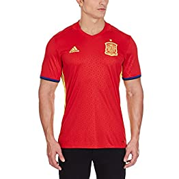 adidas Espagne Domicile Replica Uefa Euro 2016 Maillot manches courtes col V Homme