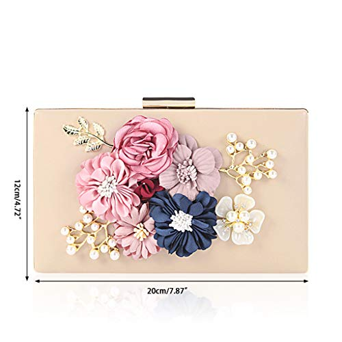 Chain Luxury Wallet Clutch Women Prom Wedding Party 1 Evening SLYlive Flower Bag Purse Apricot TIAqvPPW