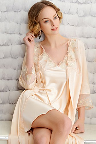 7a8935b2e42 Awaye Womens Nightgown and Robe Set Sexy Pajama Elegant Satin Two Piece 3 4  Sleeve