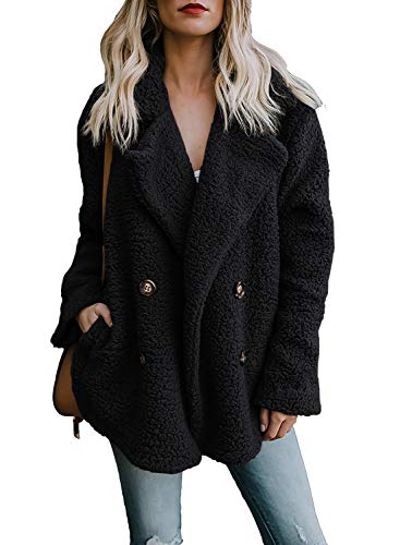 ZESICA Women's Long Sleeve Fuzzy Fleece Open Front Button Down Coat Outwear Jacket with Pockets (Fur Jacket Button Front)