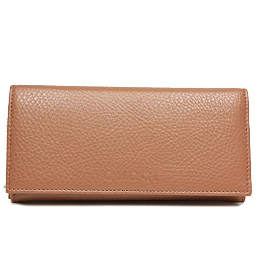 Gucci Business Card Holder (Gucci Light Brown Leather Continental Flap Wallet 305282)