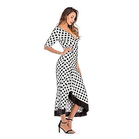 OKSakady Frauen-reizvolles Kleid, Damen-doppelter V-Ausschnitt ...