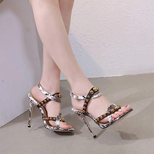 de talons Elegant Waitfor bride à compensés bloc cheville femme jaune talons cheville à Sandales Stiletto Chaussures Heel boucle à sangle à Sexy hauts high Sandals avec chaussures de rtUwqxTPr