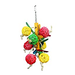 Parrot Bird Cage Wooden Hanging Swing Toys Colorful Ball Bird Toy Parrot Cage Parakeet Cockatiel Lovebird Budgie