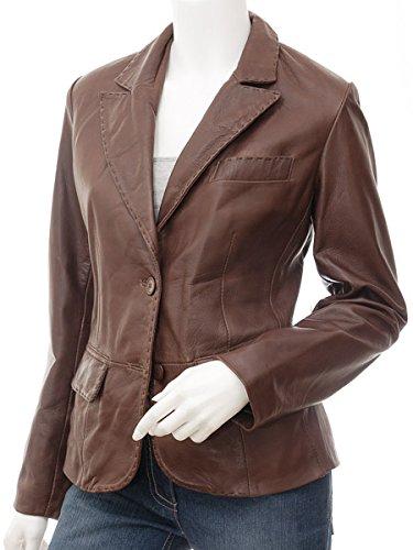Leather Hubb Women's New Zealand Lambskin Brown Leather Blazer/Jacket Solid Aster (Medium)