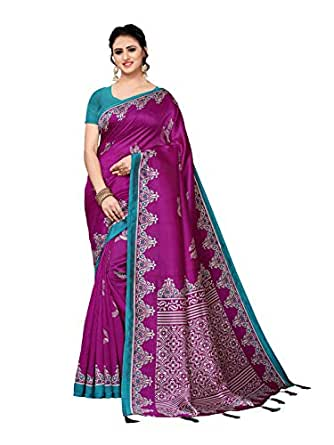 KANCHNAR Women's Silk Printed Saree with Unstitched Blouse(1032S5008;Purple;Printed)