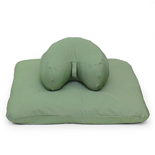 Half Moon Crescent Zafu Zabuton Set in Eco Sage Fabric by Samadhi Cushions (Eco-Friendly Materials)