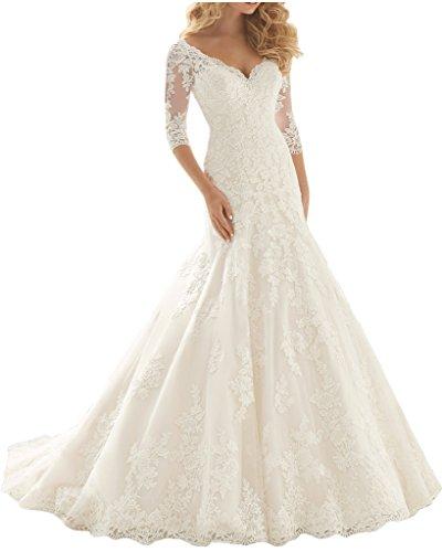 Charmant Damen Elegant Elfenbein Spitze Langarm Hochzeitskleider