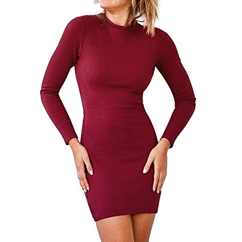 (Cenglings Women Sexy Mini Bandage Dress Long Sleeve O-Neck Bow Dress Fashion Mini Dress)