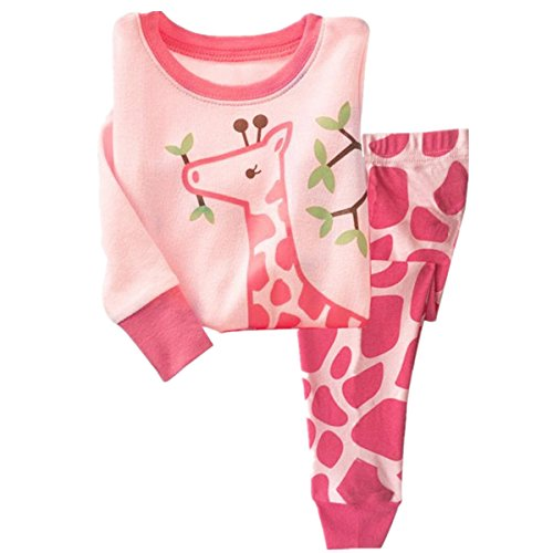 Tkala Girls Pajamas Children Clothes Set Deer 100% Cotton Little Kids Pjs Sleepwear (7, 3-Pink) ()