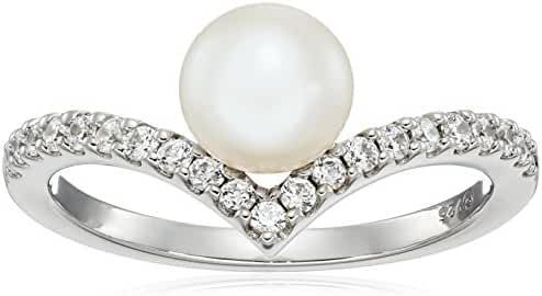 Platinum-Plated Sterling Silver Swarovski Zirconia Freshwater Cultured Pearl V-Shape Ring