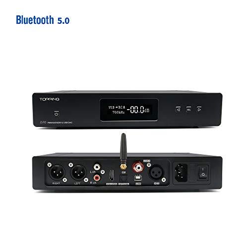 Topping D70 HiFi Balanced DAC XMOS XU208 AK4497 OPA1612 DSD512 32Bit/768KHz USB/Optical/Coaxial/AES/IIS Audio Decoder with Remote Control (Bluetooth Version)