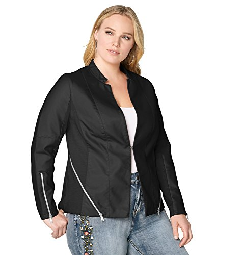 Zipper Faux Leather Jacket, 22/24 Black (Avenue Denim Skirt)