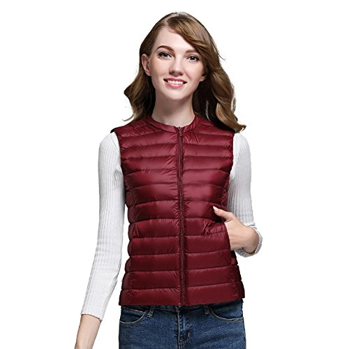 Elfjoy Women Packable Lightweight Down Vest Gilet Quilted Zip Compact Outdoor Puffer Vest Wine-red Medium