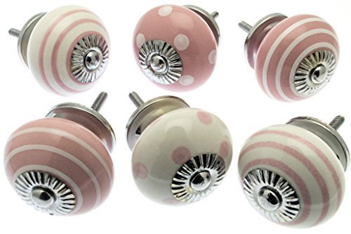 Off White Ceramic Cabinet (Mixed Set of Dusty Pink & Off White Ceramic Cupboard Knobs 1.5