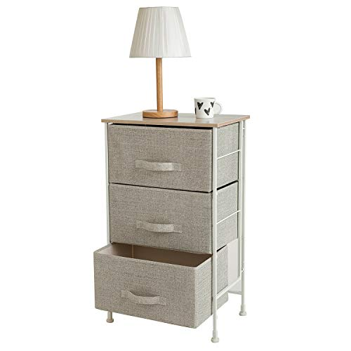 Leaf House Fabric 3-Drawer Storage Organizer Unit- Nightstand for Nursery, Closet, Bedroom, Bathroom, Entryway-Beige -NO Tools Required ()