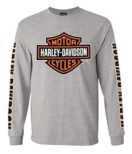 - Harley-Davidson Men's Bar & Shield Long Sleeve Crew-Neck Shirt 30297501 (2XL) Gray